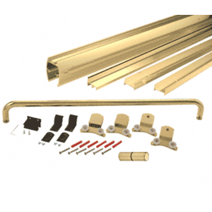 "CRL DK386080BGA Brite Gold Anodized 60"" x 80"" Cottage DK Series Sliding Shower Door Kit with Metal Jambs for 3/8"" Glass"