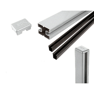 "CRL S36CKS Silver Metallic AWS 2"" x 2-5/8"" Rectangular 180 Degree 36"" Center Post Kit"