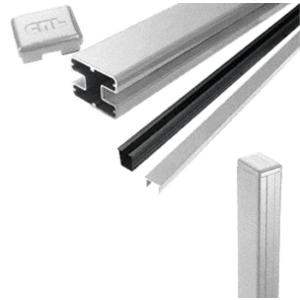 "CRL S36EKS Silver Metallic AWS 2"" x 2-5/8"" Rectangular 180 Degree 36"" End Post Kit"
