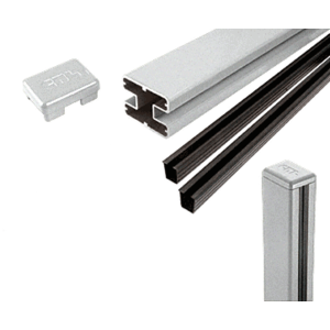 "CRL S48CKS Silver Metallic AWS 2"" x 2-5/8"" Rectangular 180 Degree 48"" Center Post Kit"