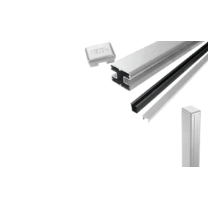 "CRL S48EKS Silver Metallic AWS 2"" x 2-5/8"" Rectangular 180 Degree 48"" End Post Kit"
