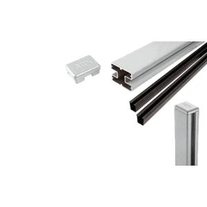 "CRL S60CKS Silver Metallic AWS 2"" x 2-5/8"" Rectangular 180 Degree 60"" Center Post Kit"