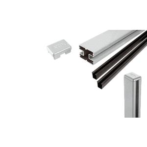 "CRL S72CKS Silver Metallic AWS 2"" x 2-5/8"" Rectangular 180 Degree 72"" Center Post Kit"