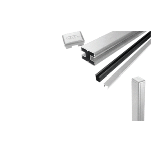 "CRL S72EKS Silver Metallic AWS 2"" x 2-5/8"" Rectangular 180 Degree 72"" End Post Kit"