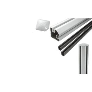 """CRL S48CRKS Silver Metallic AWS 2"""" x 2-5/8"""" Rectangular 90 Degree 48"""" Corner Post Kit"""