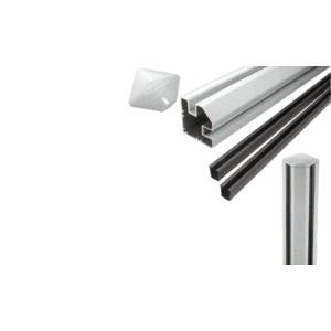 """CRL S36CRKS Silver Metallic AWS 2"""" x 2-5/8"""" Rectangular 90 Degree 36"""" Corner Post Kit"""