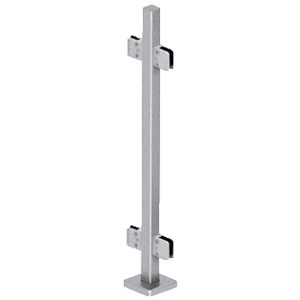 "CRL SPS36CBS Brushed Stainless 36"" Steel Square Glass Clamp 180 Degree Center Square Post Railing Kit"