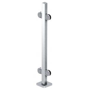 "CRL SPR36CPS Polished Stainless 36"" Steel Square Glass Clamp 180 Degree Center Square Post Railing Kit"