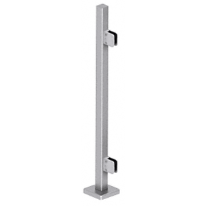 "CRL SPS42EBS Brushed Stainless 42"" Steel Square Glass Clamp End Square Post Railing Kit"