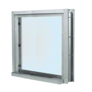 "CRL C01W3636A Satin Anodized 40"" Wide Bullet Resistant Interior Window with Surround and 12"" Shelf with Deal Tray"