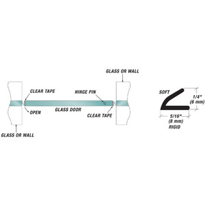 "U.S. Horizon Mfg., Inc. VS 1/4 Inch Height Clear Dual Durometer Shower Door Seal ""V"" Seal"
