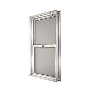 "CRL BAP2640BS Satin Anodized 20-3/4"" x 30-1/8"" Bel-Air ""Plaza"" Combination Door Unit With Obscure Tempered Glass and Mill Frame for 1-3/4"" 2-6 Slab Door"