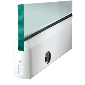 """CRL DR4TPS12SL Polished Stainless 1/2"""" Glass 4"""" Tapered Door Rail With Lock - 35-3/4"""" Length"""
