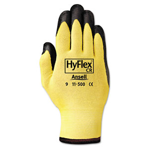 ANSELL ANS1150010 HyFlex Ultra Lightweight Assembly Gloves, Black/Yellow, Size 10, 12 Pairs