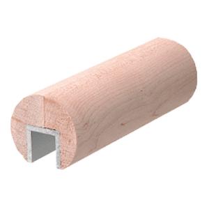 "CRL WCR25MP Maple 2-1/2"" Diameter Wood Cap Rail - 1/2"" or 5/8"" Glass"