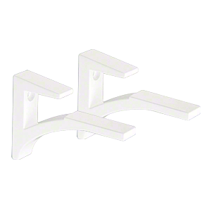 "CRL SC5W White - Aluminum Shelf Clip for 3/8"" to 1/2"" Glass"
