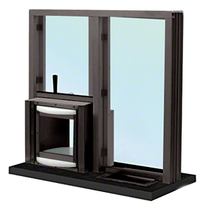 "Dark Bronze 36"" W x 36"" H Bullet Resistant Combination Exchange Window With Rotary Server Protection Level 1"