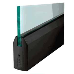 """CRL DR4TBL12S Black Powder Coated 1/2"""" Glass 4"""" Tapered Door Rail Without Lock - 35-3/4"""" Length"""