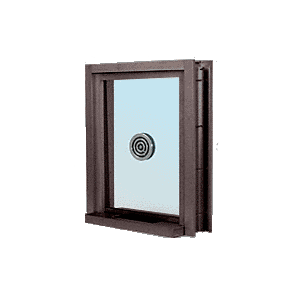 "CRL C0EW3636DU Dark Bronze 40"" Wide Bullet Resistant Exterior Window with Surround Sound, Speak-Thru and Shelf with Deal Tray"