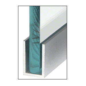 "CRL WU1BSASL Brushed Stainless Anodized Wet Glaze 1-1/2"" Deep U-Channel 120"" Stock Length"