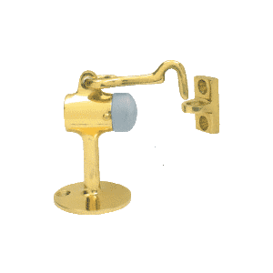 CRL DL2521PB Polished Brass Floor Mounted Heavy-Duty Door Stop With Hook and Holder