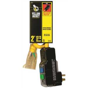 YELLOW JACKET 2877 2 ft. 12/3 SJTW Right Angle GFCI Heavy-Duty Extension Cord with Power Light Plug Yellow
