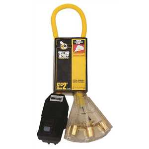 YELLOW JACKET 2814 2 ft. 12/3 SJTW Right Angle GFCI Heavy-Duty Cord with Multi-Outlet (3) Power Light Block Yellow