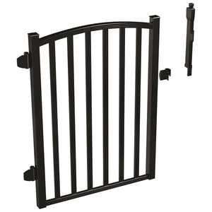 AquatinePLUS 3 ft. x 4 ft. Black Aluminum Fence Pool Gate Black Powder Coat