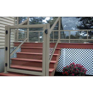 """CRL 35GG3642BGY Beige Gray 36"""" 350 Series Aluminum Railing System Gate for 1/4"""" to 3/8"""" Glass"""
