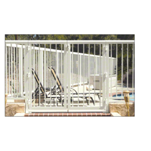 """CRL 2PG36420W Oyster White 36"""" 200 Series Aluminum Railing System Gate with Picket for 1/4"""" to 3/8"""" Glass"""
