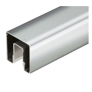 "CRL GRS15PS Polished Stainless 1-1/2"" Square Premium Cap Rail for 1/2"" Glass - 120"" Long"