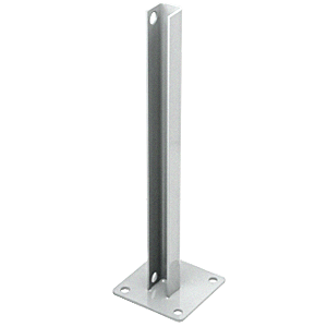 CRL PSB1BS Metallic Silver AWS Steel Stanchion for 180 Degree Round or Rectangular Center or End Posts