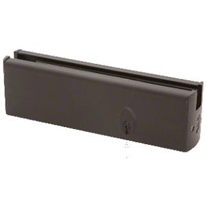 "CRL DR2SDU12PL Black Bronze 1/2"" Glass Low Profile Square Door Rail With Lock - 8"" Patch"