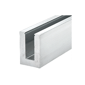 """Mill Aluminum 240"""" B7S Series Fascia Mount Heavy-Duty Square Base Shoe with 3/4"""" Glazing"""