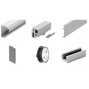 """280 Satin Anodized Series Single Sliding Door Glass Fixed Panel Mount Installation Kit for 1/2"""" (12 mm) Tempered Glass"""