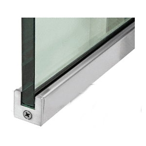 """Brushed Stainless 1"""" Tall Slender Profile Door Rail Without Lock - 35-3/4"""""""