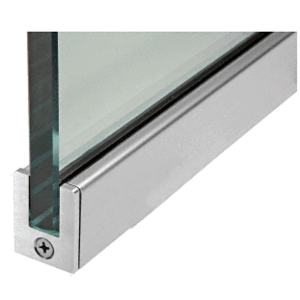 "CRL SP35BS12S Brushed Stainless 1-3/8"" Tall Slender Profile Door Rail Without Lock - 35-3/4"""