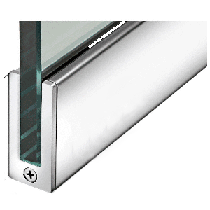 """Polished Stainless 2-1/2"""" Tall Slender Profile Door Rail Without Lock - 35-3/4"""""""