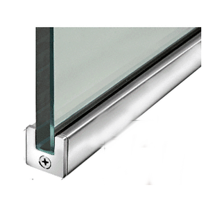 """Polished Stainless 1"""" Tall Slender Profile Door Rail Without Lock - 35-3/4"""""""