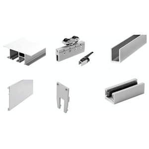 50 Satin Anodized Series Single Sliding Door with Fixed Panel Dropped Ceiling Mount Kit