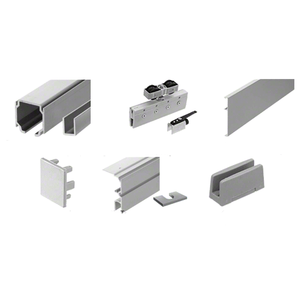 70 Satin Anodized Series Single Sliding Door with Fixed Panel Ceiling Mount Kit