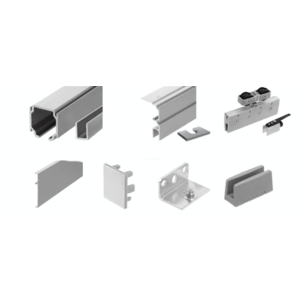 70 Satin Anodized Series Single Sliding Door with Fixed Panel Wall Mount Kit