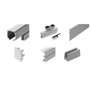 70 Satin Anodized Series Single Sliding Door with Two Fixed Panels Ceiling Mount Kit