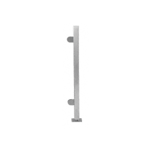 "Brushed Stainless 18"" High 1"" Square PP48 Mini Plaza Series Partition End Post With Mini Z-Clamps"