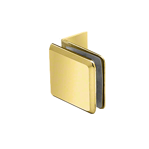 Polished Brass Fixed Panel Beveled Clamp With Small Leg