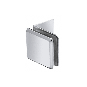 Polished Chrome Fixed Panel Beveled Clamp With Large Leg
