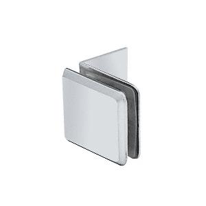 Satin Chrome Fixed Panel Beveled Clamp With Large Leg