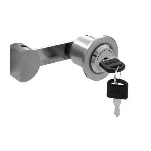 Brushed Stainless UV Lock for Single Inset or Overlay Glass Doors - Keyed Alike