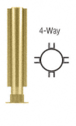 """CRL PP01XPB Polished Brass 12"""" Round PP01 Elegant Series Counter/Partition 4-Way Post With Air Space"""
