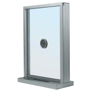 "Satin Anodized Bullet Resistant 24"" Wide Exterior Window with Speak-Thru and Shelf with Deal Tray for Walls 4-7/8"" Thick"
